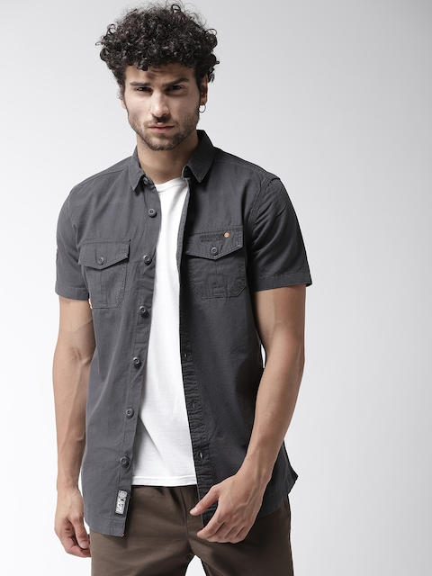 Superdry Men Charcoal Grey Regular Fit Solid Casual Shirt