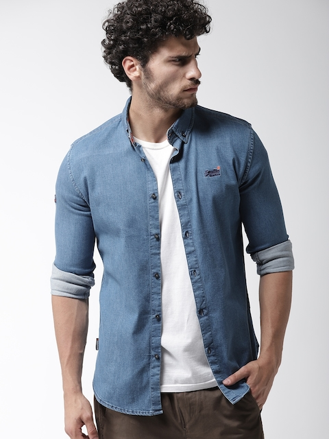 Superdry Men Blue Slim Fit Solid Denim Casual Shirt