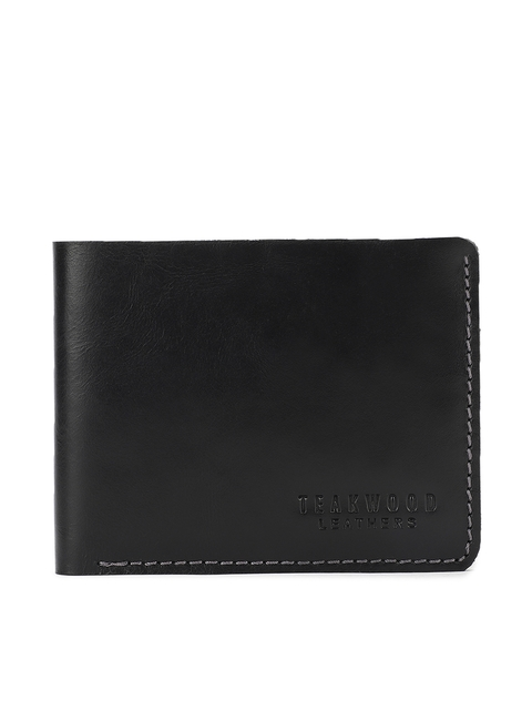 Teakwood Leathers Men Black Solid Two Fold Leather Wallet
