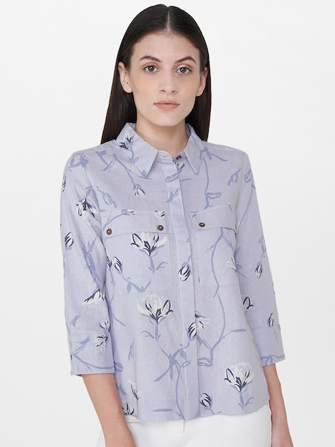 AND Women Blue Printed Regular Fit Casual Shirt
