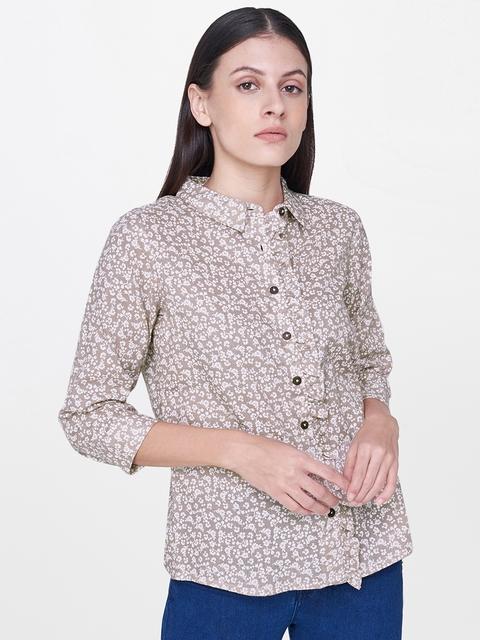 AND Women Brown Regular Fit Printed Casual Shirt