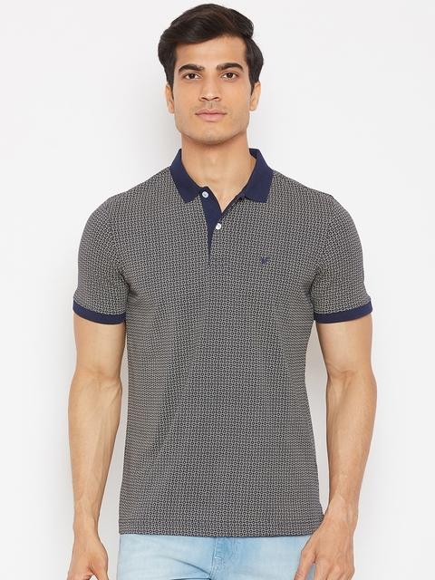Blackberrys Men Beige & Navy Printed Polo Collar T-shirt