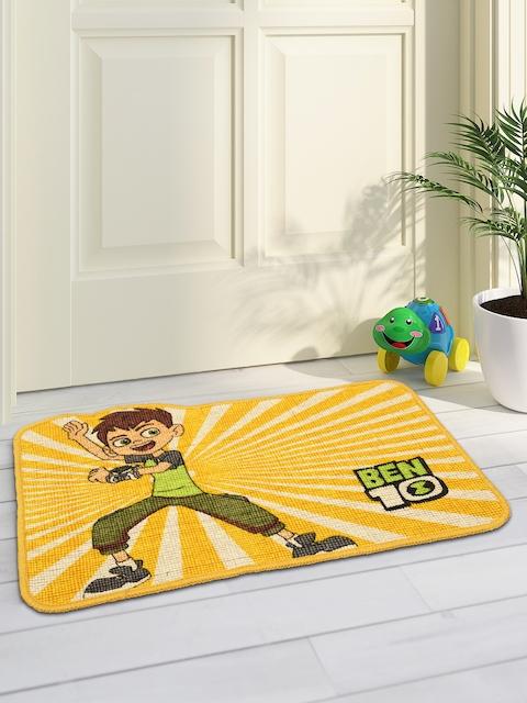 Saral Home Yellow Printed Anti-Slip Doormat