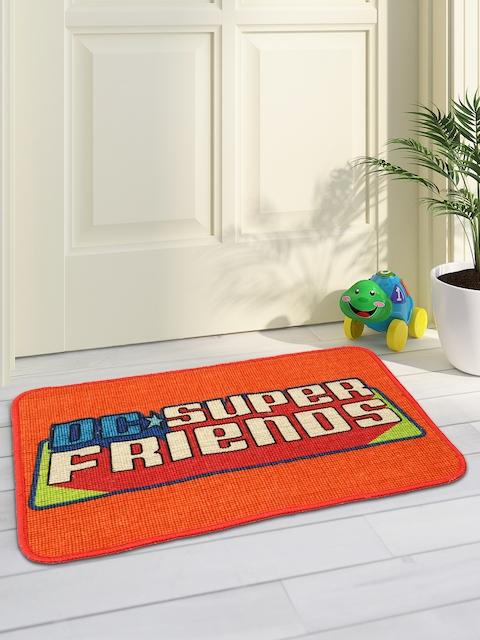 Saral Home Orange & Multicoloured Printed Anti-Slip Doormat