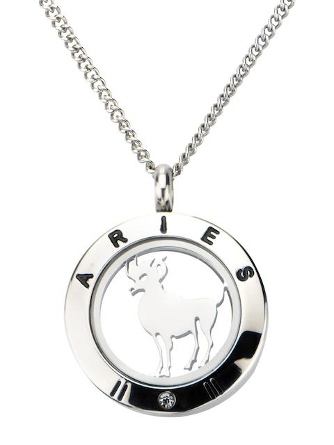 Inox Jewelry Men Silver-Toned Circular-Shaped Zodiac Pendant