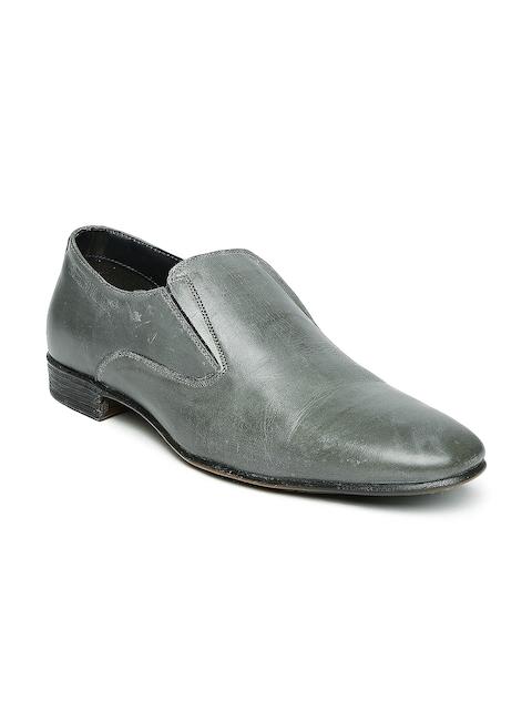Alberto Torresi Men Grey Leather Formal Shoes