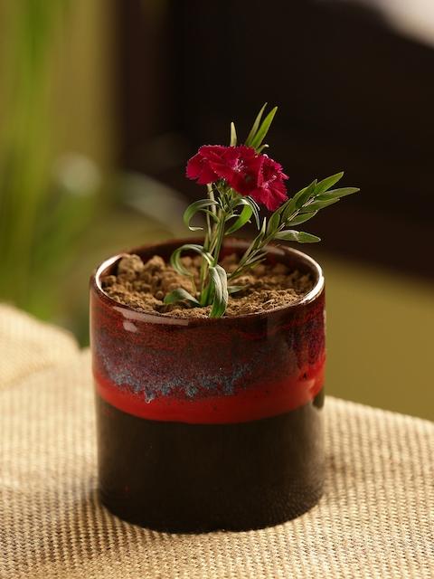 ExclusiveLane Black & Maroon Ceramic Planter