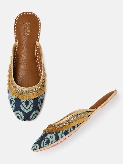 IMARA Women Blue Printed & Embellished Mules