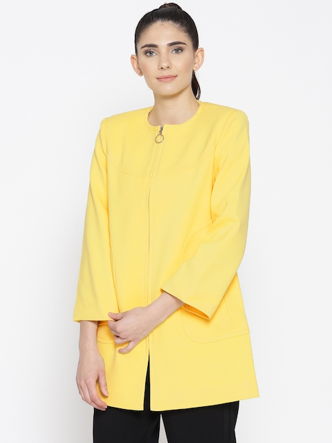 OVS Women Yellow Solid Collarless Coat