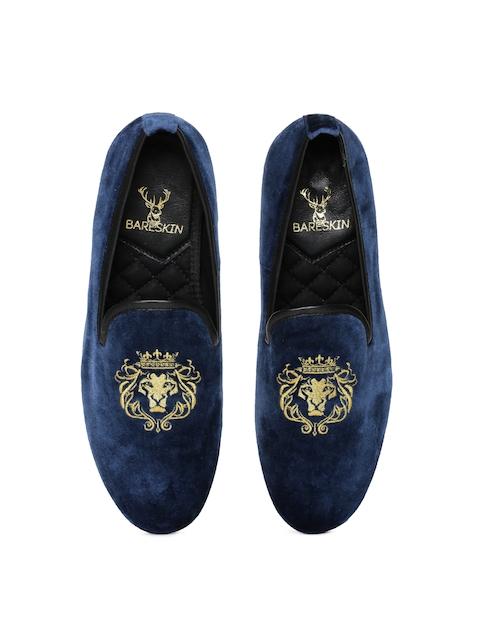 BARESKIN Men Blue Velvet Loafers