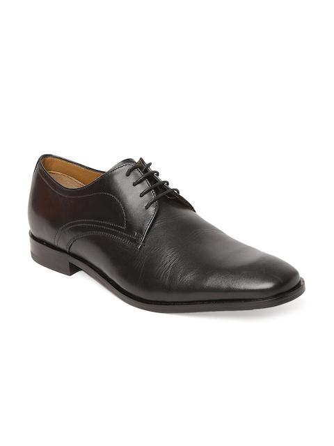 Tresmode Men Black Solid Leather Derbys