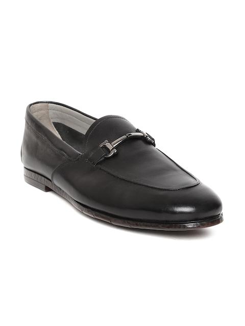 Tresmode Men Black Solid Leather Formal Slip-Ons