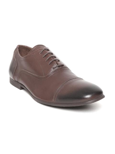 Tresmode Men Brown Solid Leather Formal Oxfords