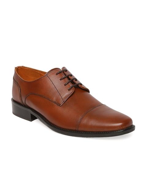 Tresmode Men Tan Brown Solid Leather Derbys