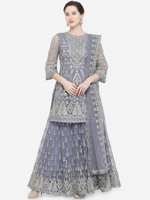 Stylee LIFESTYLE Grey Net Semi-Stitched Dress Material