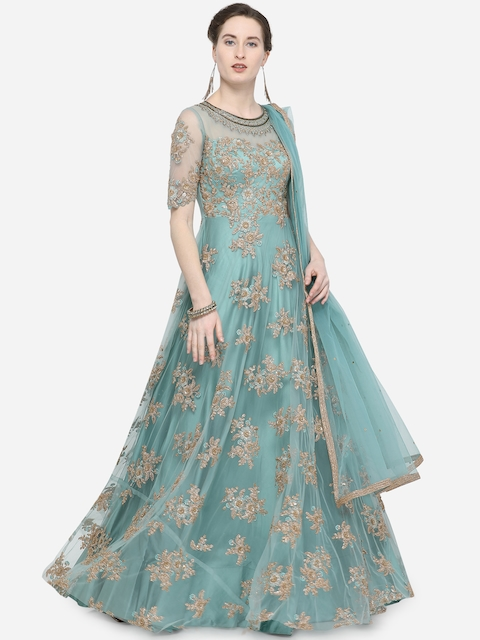 Stylee LIFESTYLE Turquoise Blue & Gold-Coloured Net Semi-Stitched Dress Material