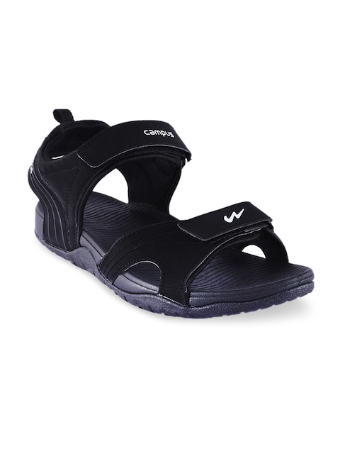 Campus Men Black Sports Sandals