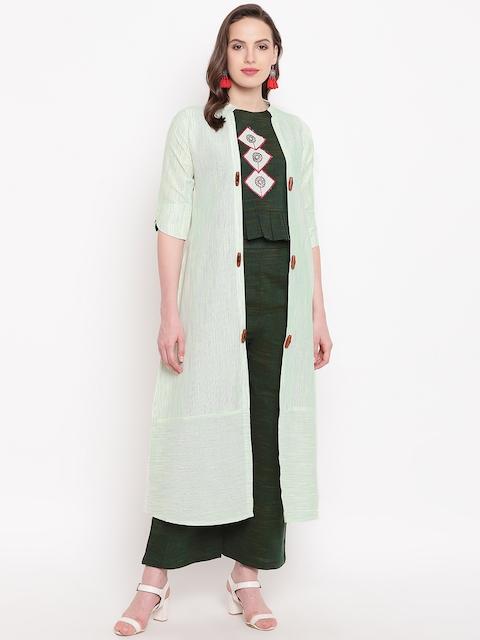 Kvsfab Women Green Embellished Top with Palazzos