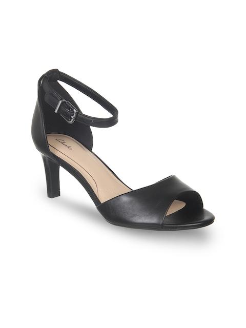 Clarks Women Black Solid Leather Sandals