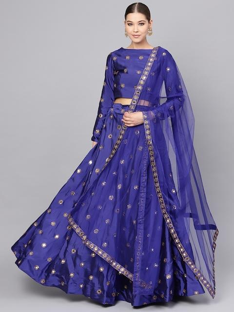 Inddus Blue & Golden Embellished Lehenga & Blouse with Dupatta