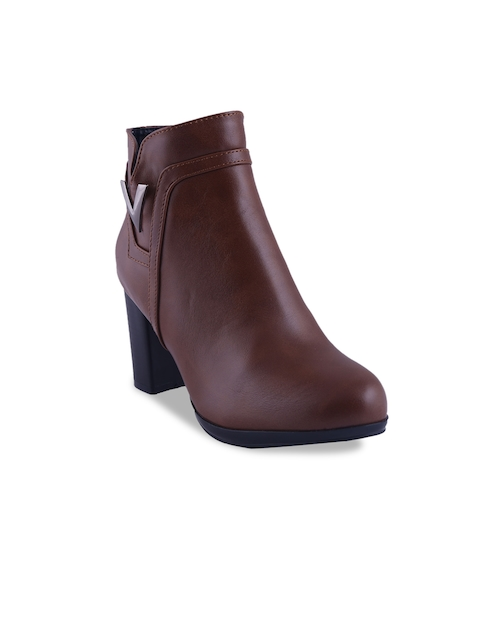 MSC Women Coffee Brown Solid Heeled Boots