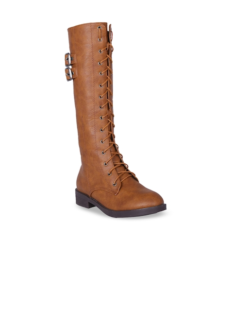 MSC Women Tan Solid Heeled Boots