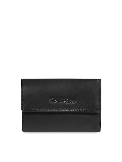 CALFNERO Unisex Black Solid Genuine Leather Key Case