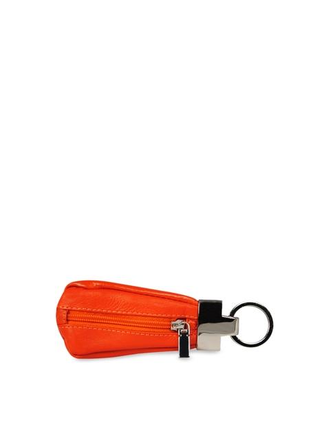 CALFNERO Unisex Orange Solid Genuine Leather Key Case