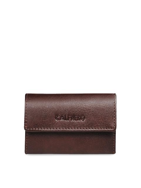 CALFNERO Unisex Brown Solid Genuine Leather Zip Around Wallet