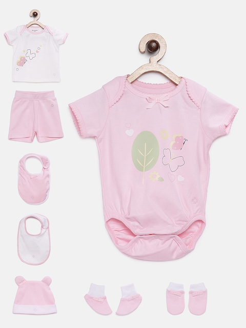 My Milestones Unisex Pink Printed Clothing Gift Set