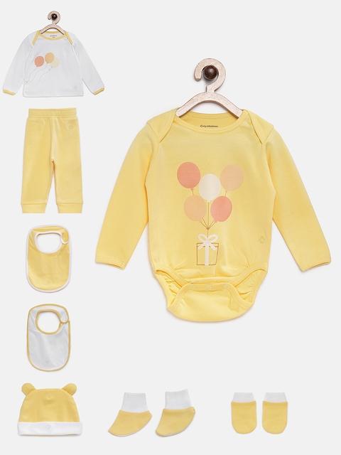 My Milestones Unisex Yellow Printed Clothing Gift Set
