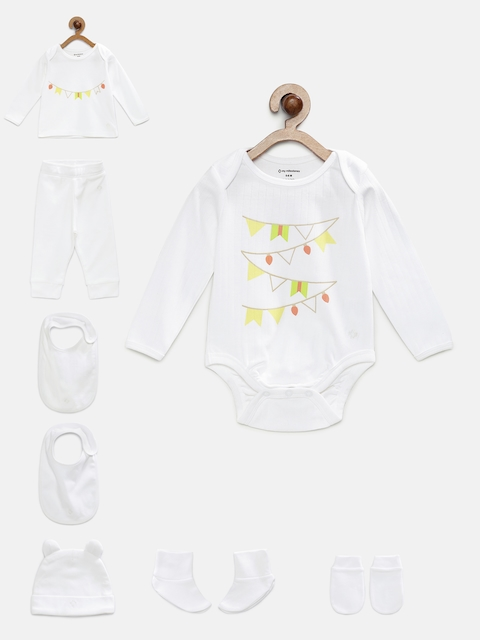 My Milestones Unisex White Printed Clothing Gift Set