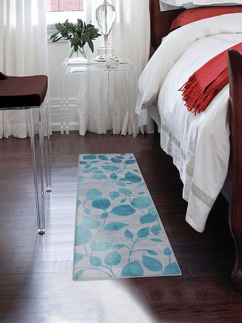 RUGSMITH Turquoise Blue & Grey Printed Anti-Skid Carpet