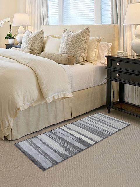 RUGSMITH Blue & Grey Printed Anti-Skid Carpet