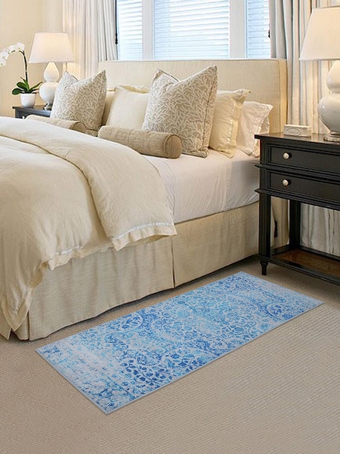RUGSMITH Blue Printed Anti-Skid Carpet