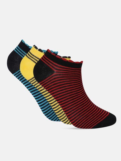 Dressberry Women Pack of 3 Striped Ankle Length Socks