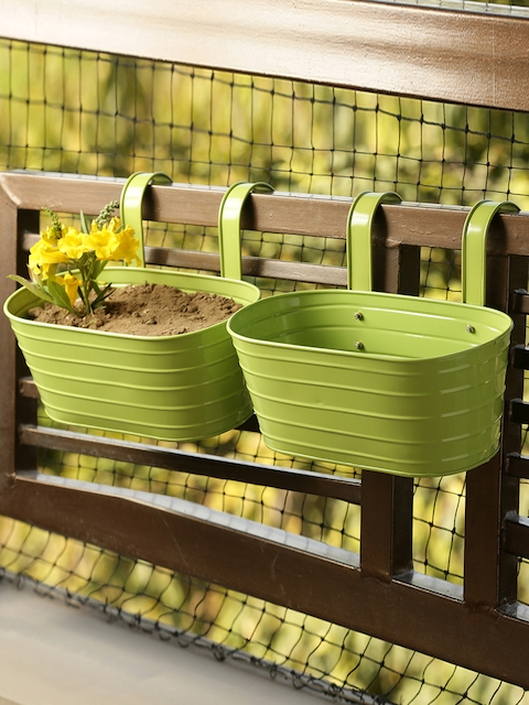 ExclusiveLane Set of 2 Solid Railing Cum Table Planter Pots