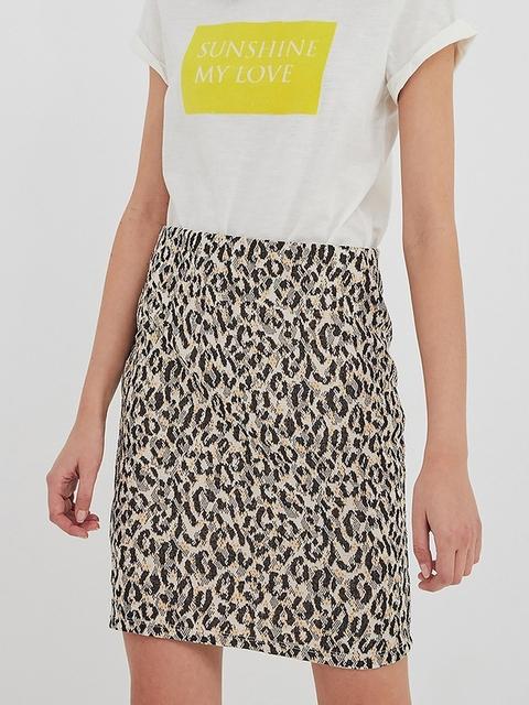 promod Women Off-White & Black Printed Pencil Skirt