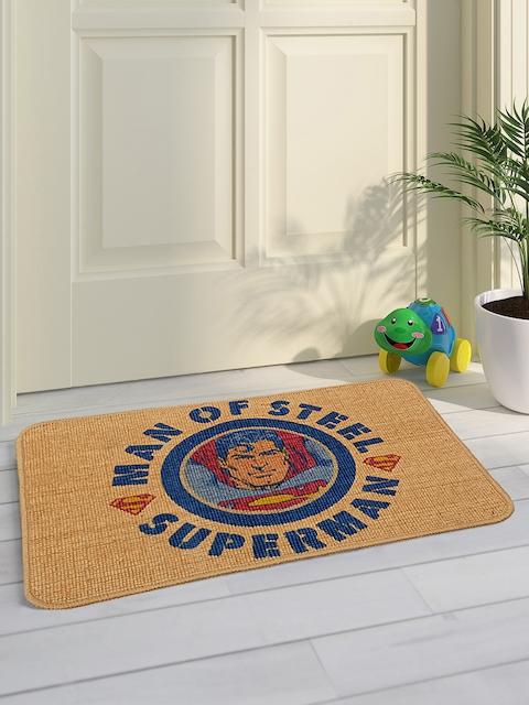 Saral Home Kids Beige & Blue Superman Printed Doormat