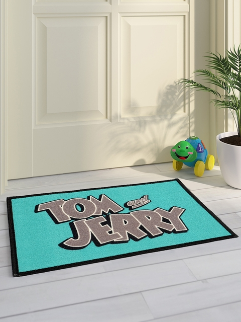 Saral Home Kids Turquoise Blue & Grey Tom & Jerry Printed Doormat