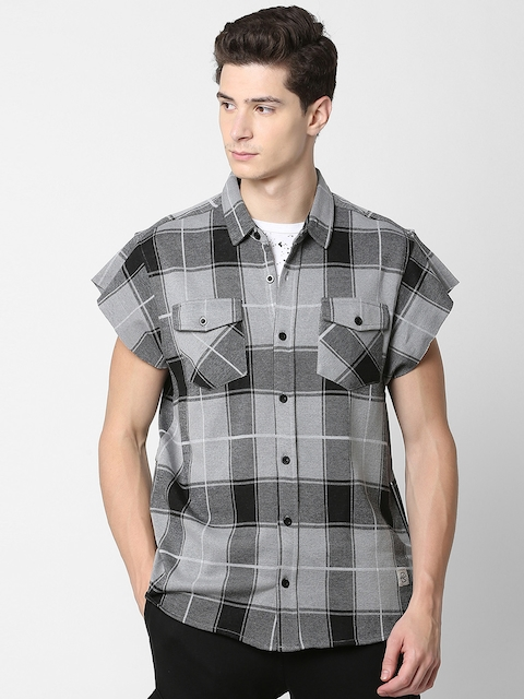 SKULT by Shahid Kapoor Men Grey & Black Slim Fit Checked Casual Shirt