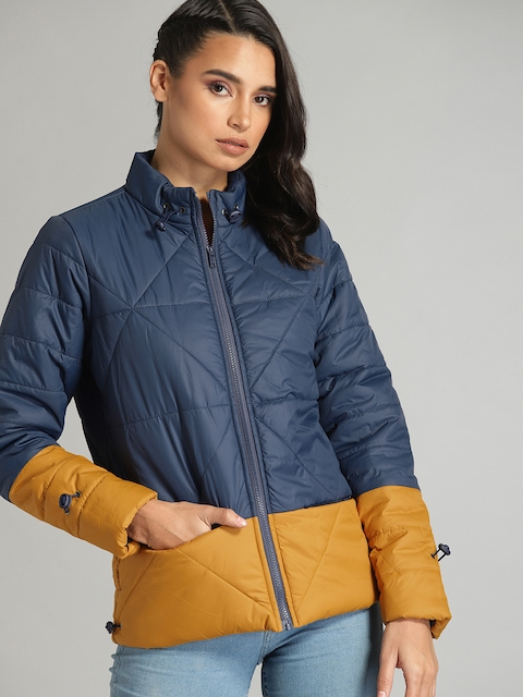 Roadster Women Navy Blue & Mustard Yellow Colourblocked Quilted Jacket