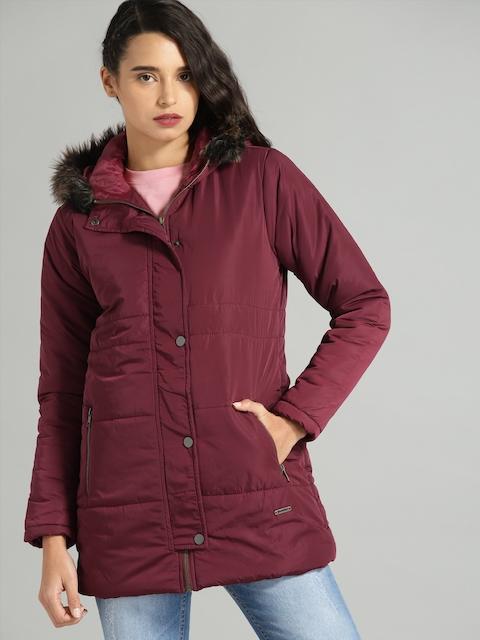 Roadster Women Burgundy Solid Puffer Jacket