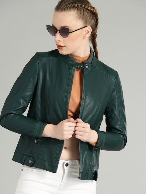 Roadster Women Green Solid Biker Jacket