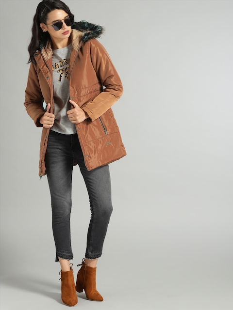 Roadster Women Camel Brown Solid Longline Quilted Hooded Jacket