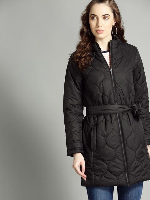 Roadster Women Black Solid Longline Quilted Jacket