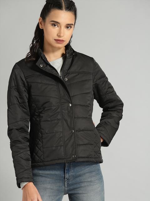 Roadster Women Black Solid Detachable Hooded Puffer Jacket