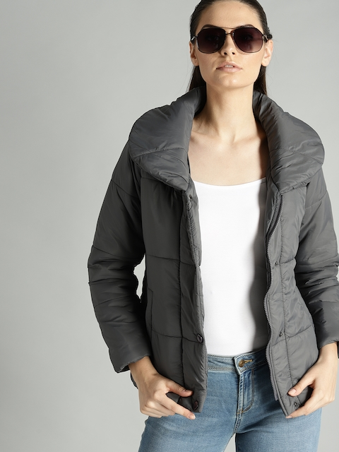 Roadster Women Charcoal Grey Solid Padded Jacket