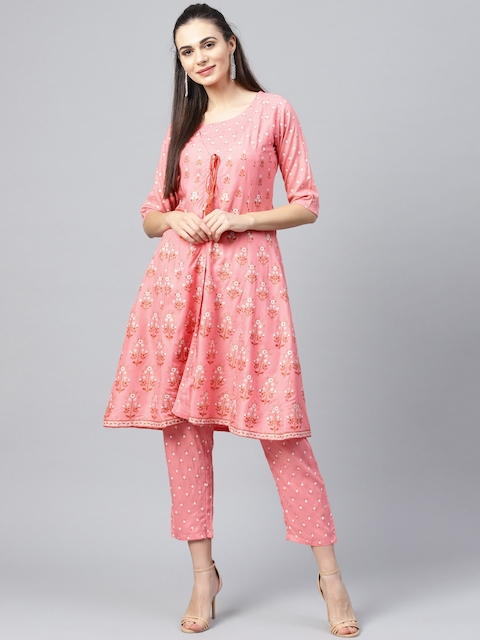 Libas Women Pink & White Printed Top with Trousers