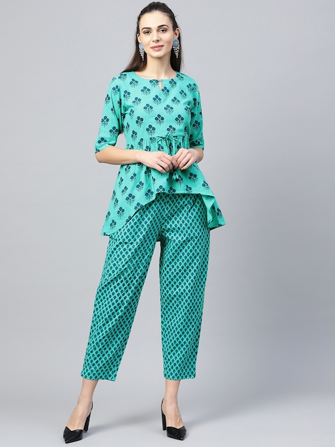 Libas Women Green & Blue Printed Top with Trousers